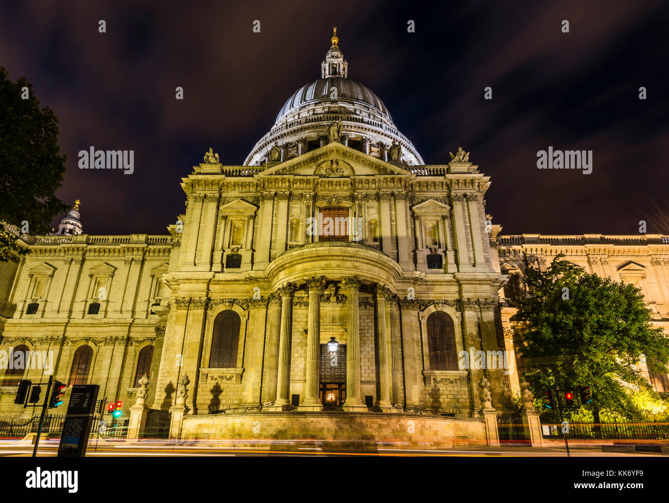Side elevation after dusk at St Paul's Cathedral, London, UK - Stock Image