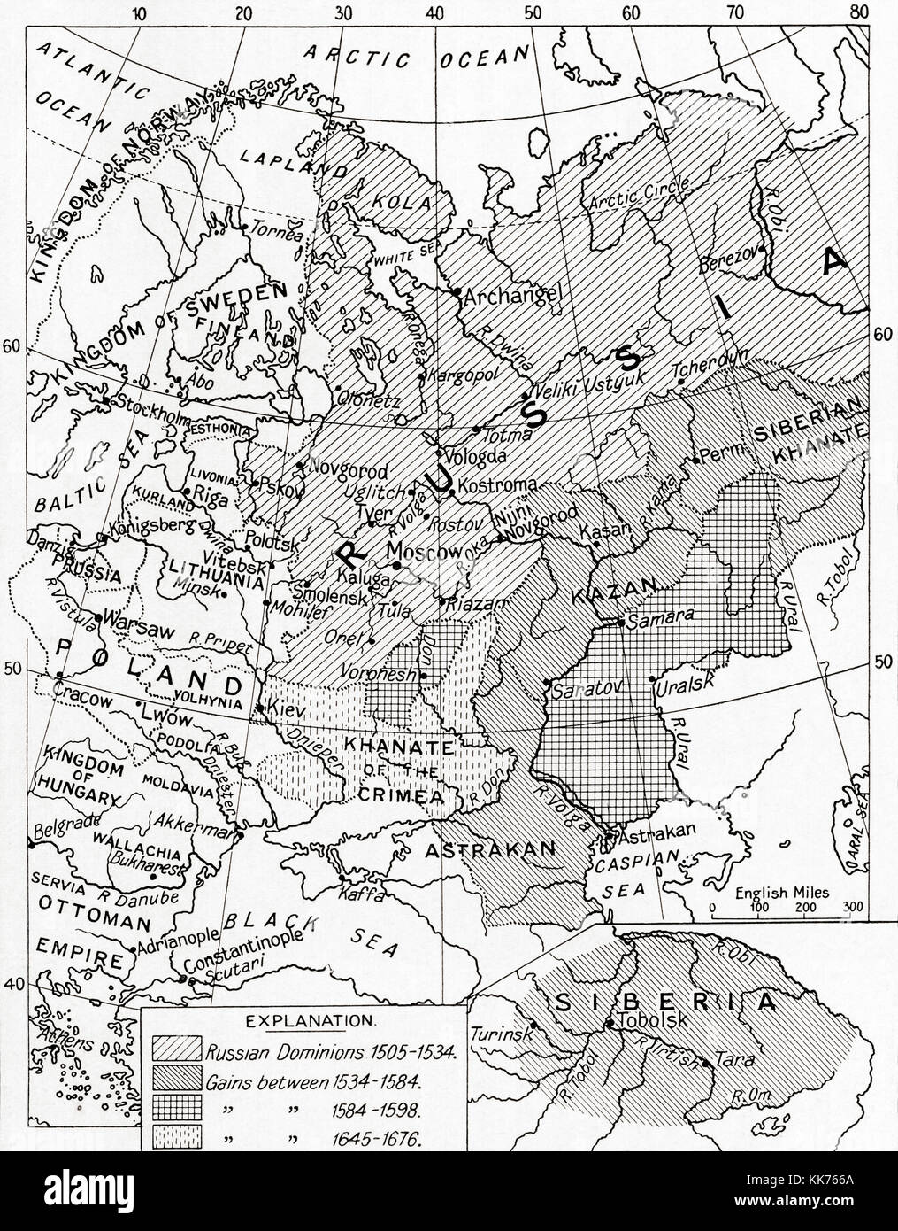 Map of Russia in the 16th and 17th centuries.  From Hutchinson's History of the Nations, published 1915. - Stock Image
