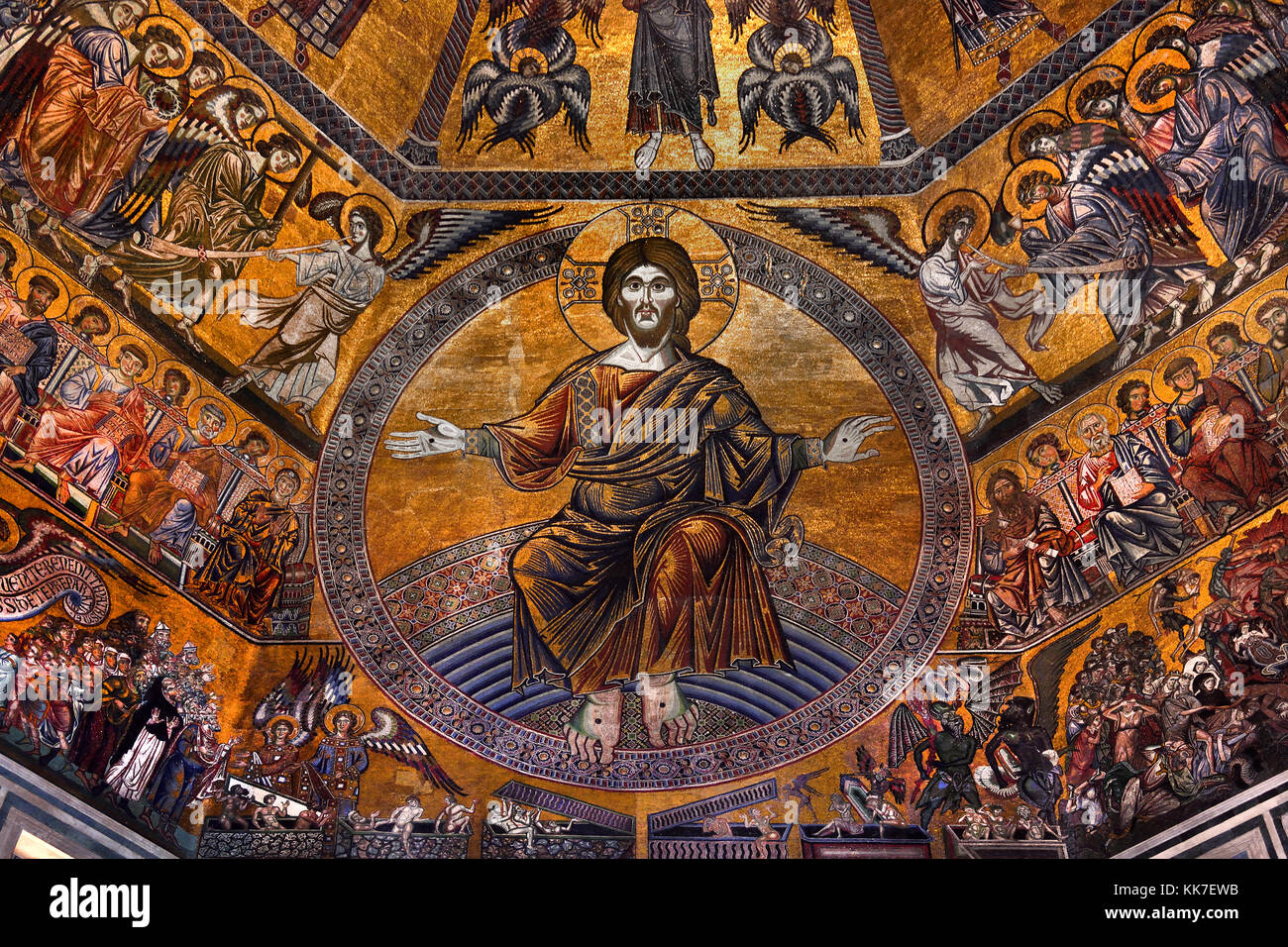 Christ and the Last Judgement in the Mosaic-covered interior of the octagonal dome The Florence Baptistery (: Battistero - Stock Image