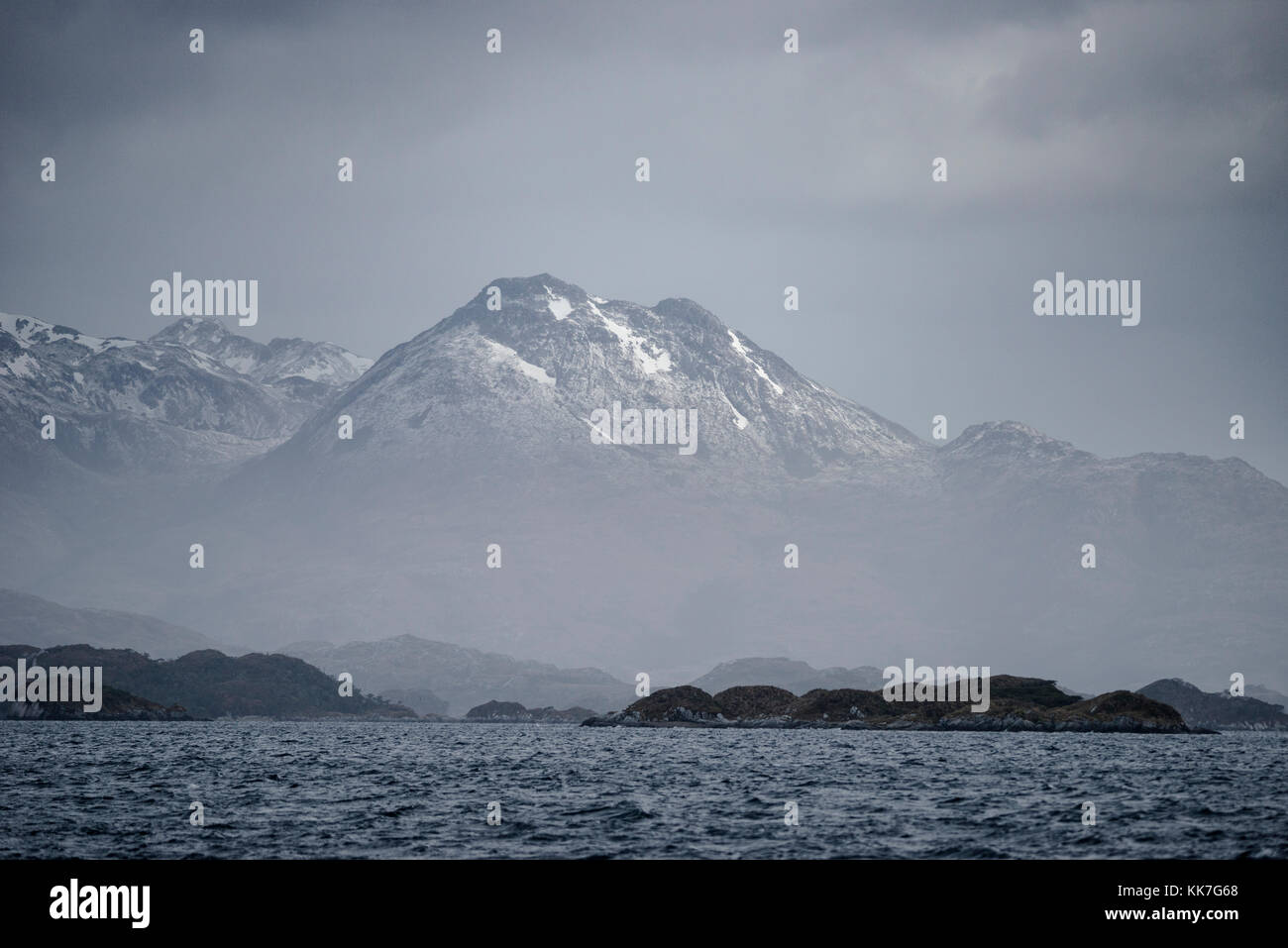 Landscape in southern Chilean fjords - Stock Image