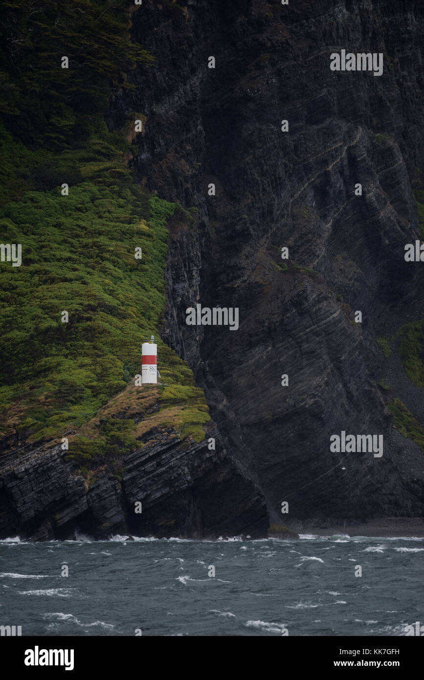 Lighthouse at Cape Froward, the southernmost point in continental South America, Chile. - Stock Image