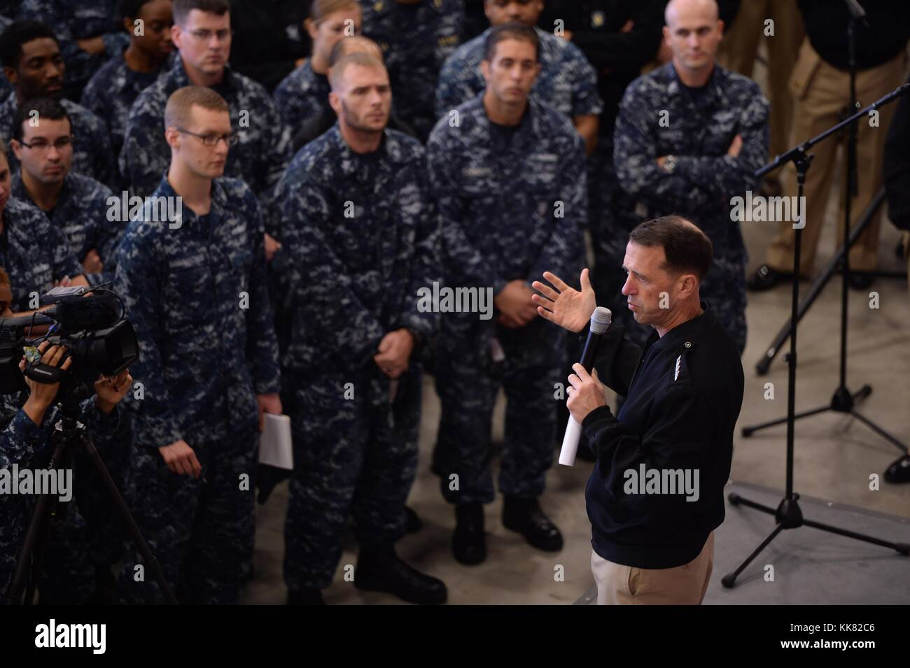 Chief of Naval Operations CNO Admiral John Richardson provides remarks during an all-hands call at Naval Support - Stock Image