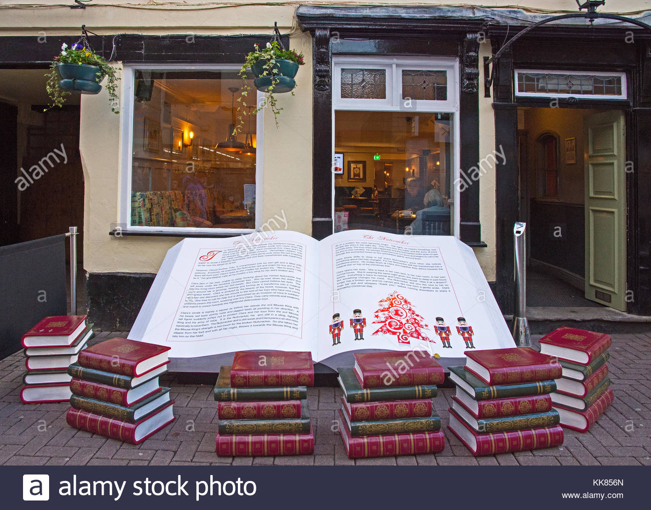 Lichfield Staffordshire England  November 28th 2017.  A huge book with the Nutcracker Christmas story outside the - Stock Image