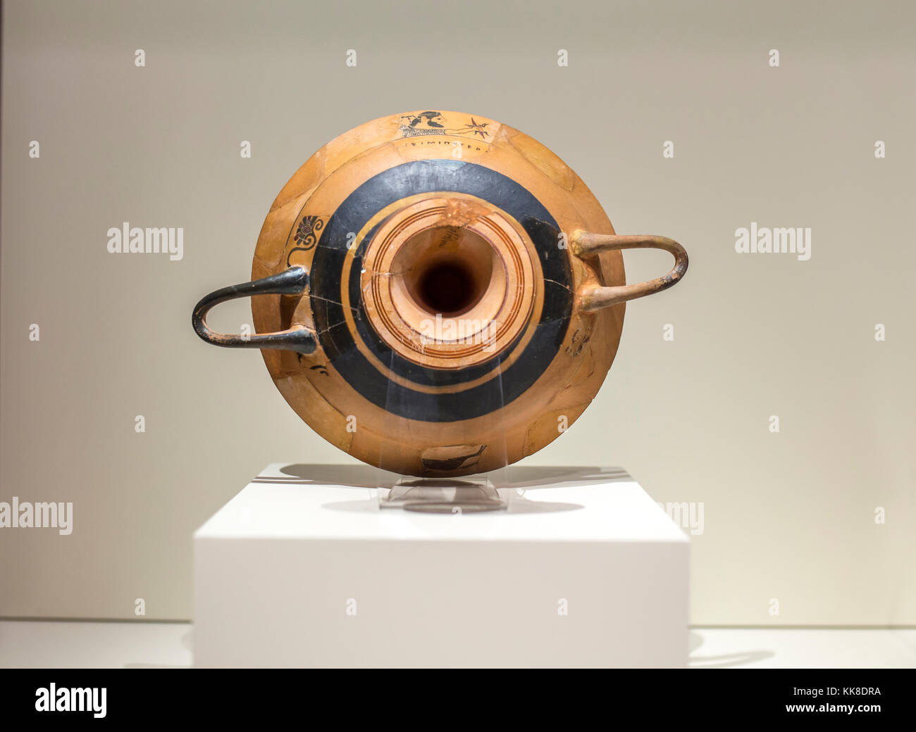 Madrid, Spain - November 10, 2017: Medellin Kylix of Eucherios Cup found in the Tartessian city of Conisturgis, - Stock Image