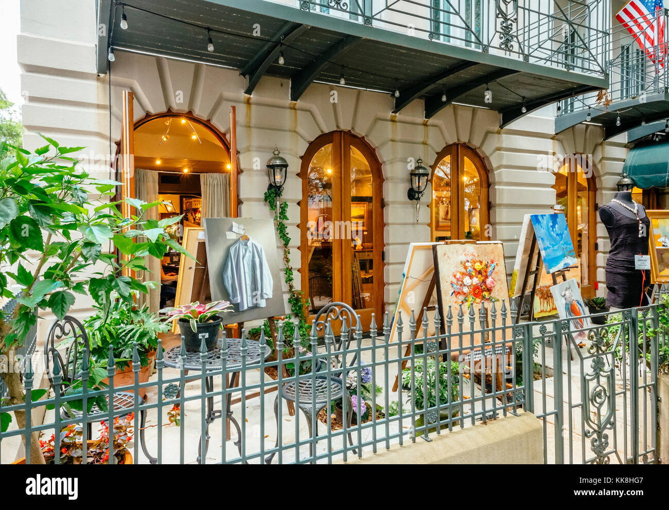Sidewalk boutique and art gallery with outside display in Seaside Florida, USA, a beach resort town. - Stock Image