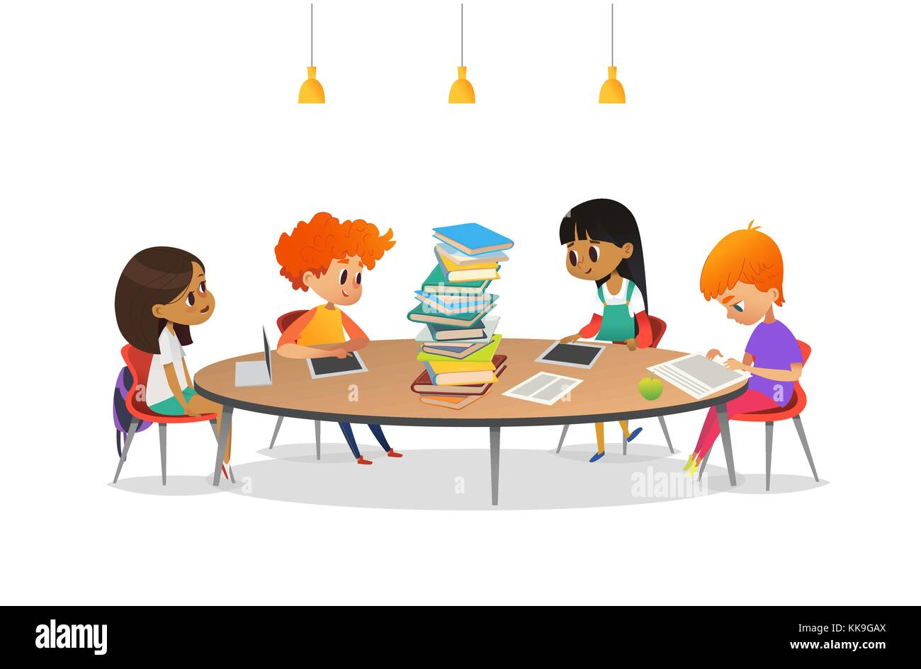 Group Children Sitting Round Table Stock Photos Amp Group
