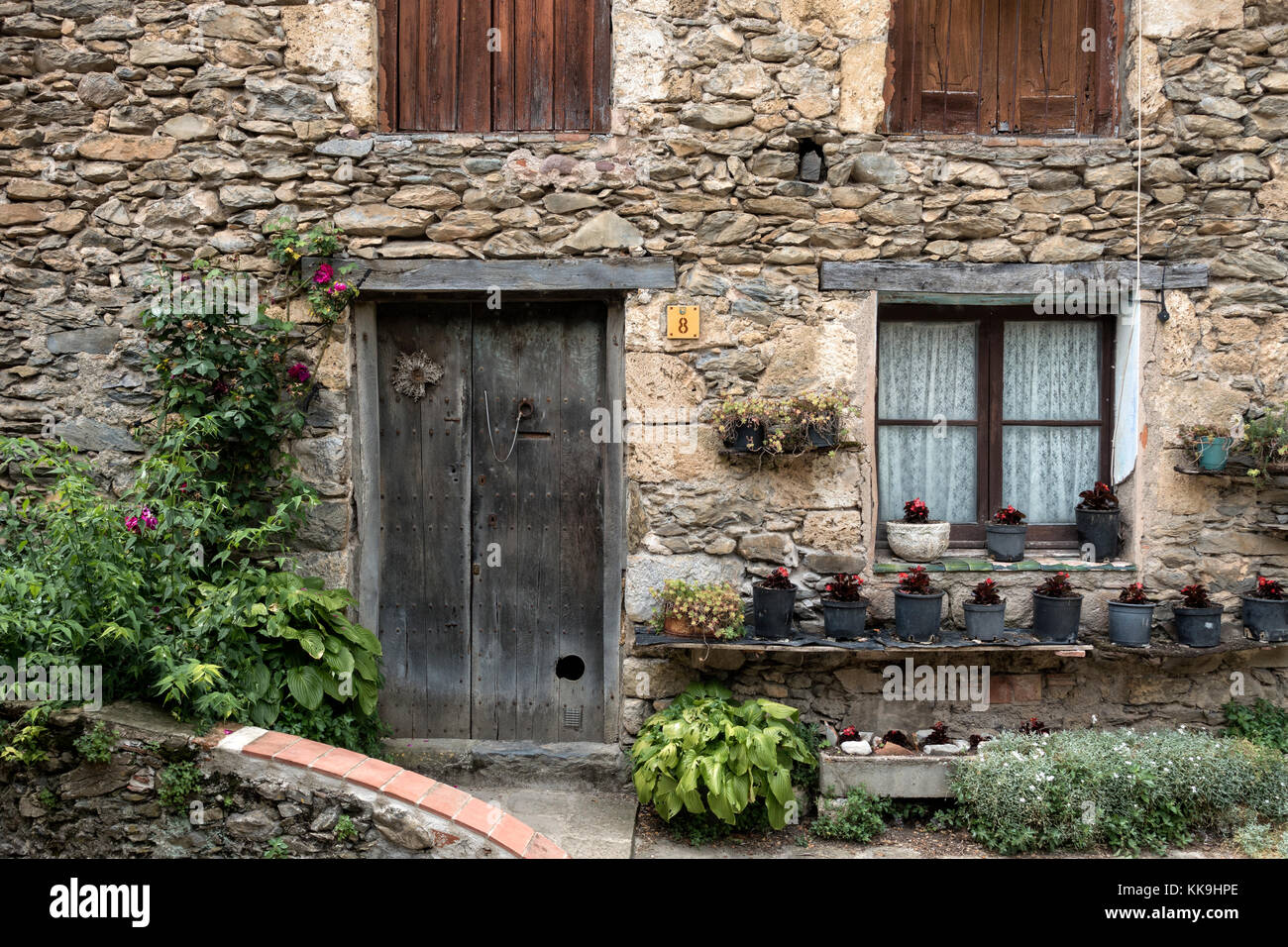 Old stone house.Beget village.Gerona.Catalonia.Spain - Stock Image