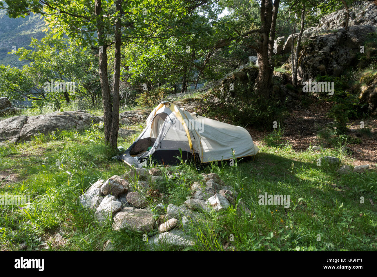 Wildreness camping.Pyrenees.Andorra - Stock Image