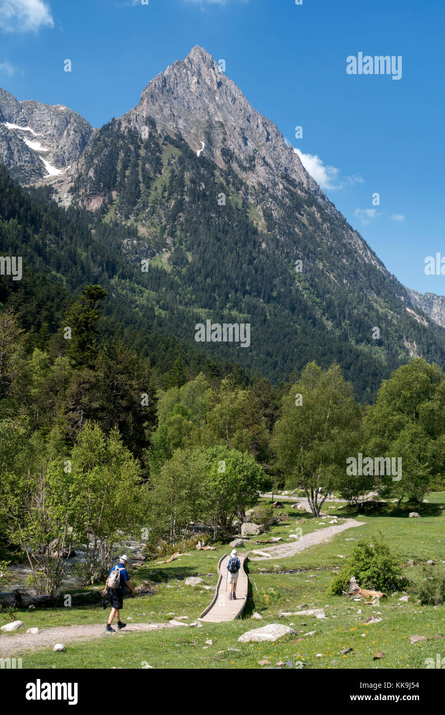 Trekking in Aigüestortes National Park.Catalonia.Spain - Stock Image