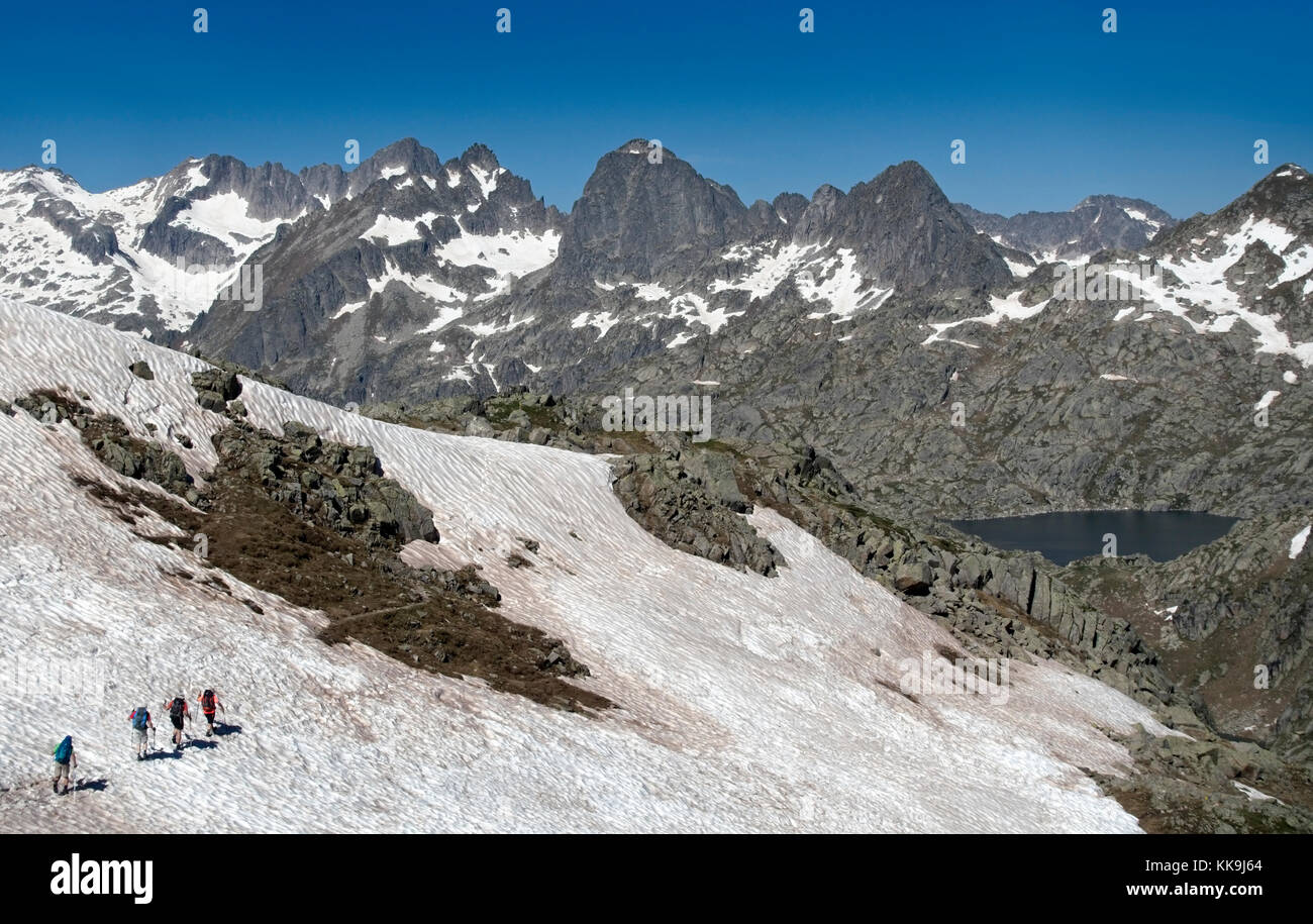 Trekking in Aiguestortes National Park.Pyrenees.Catalonia.Spain - Stock Image