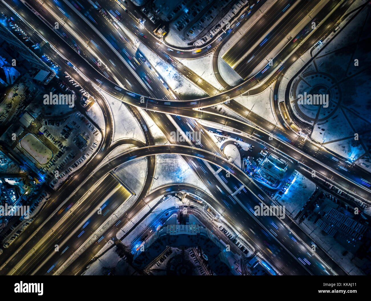Moscow, Russia. 29th Nov, 2017. An aerial image of a road interchange at the crossing of Ulitsa Narodnogo Opolcheniya - Stock Image