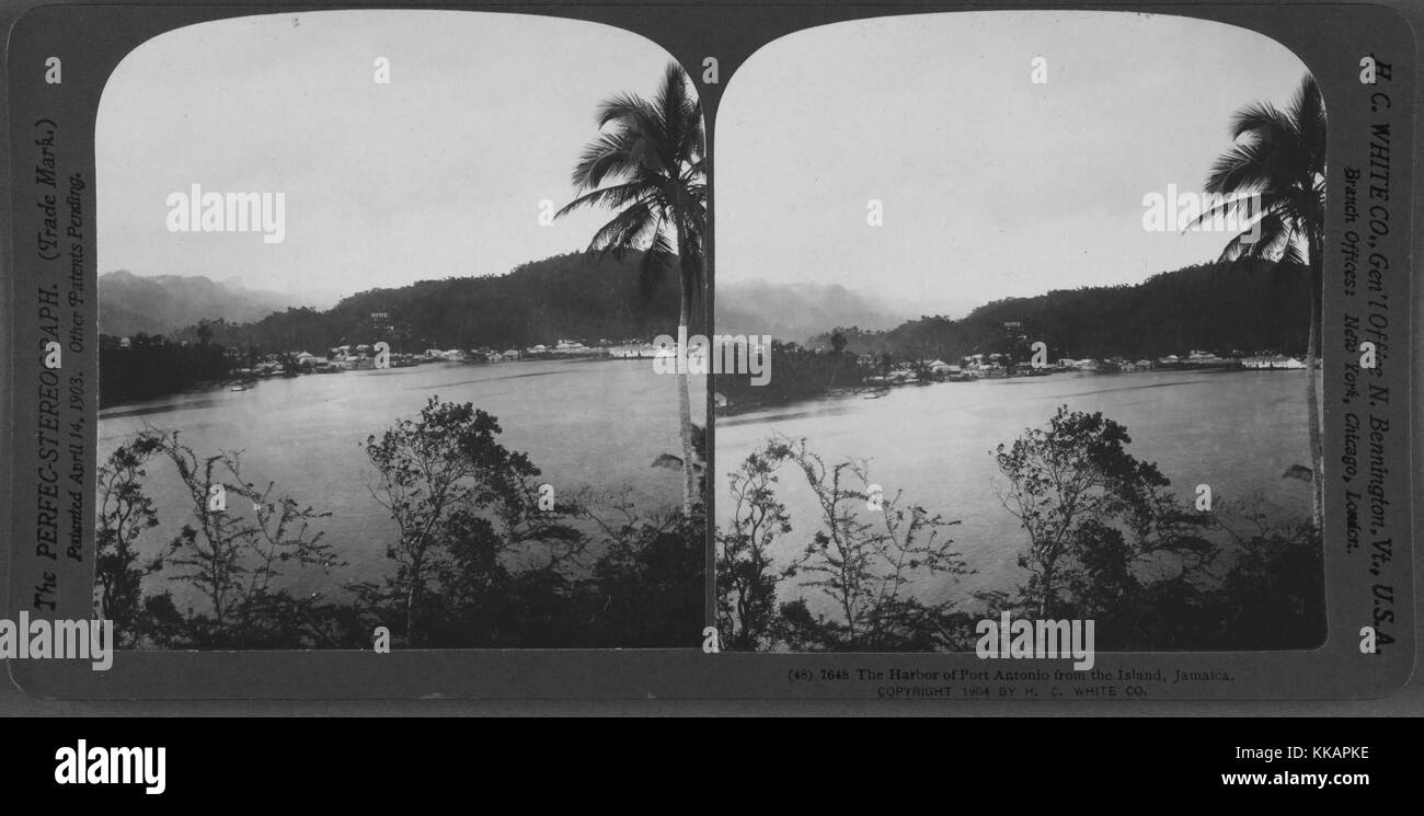 The Harbor of Port Antonio from the Island, Jamaica, 1904. From the New York Public Library. - Stock Image