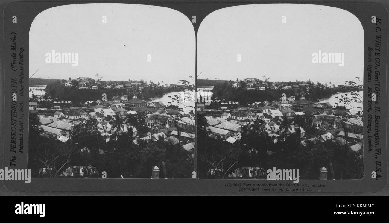 Stereopticon of Old Church in Port Antonio, Jamaica, 1904. From the New York Public Library. - Stock Image