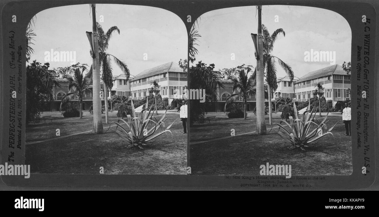 King's House, showing Ball Room at the left, Kingston, Jamaica, 1904. From the New York Public Library. - Stock Image