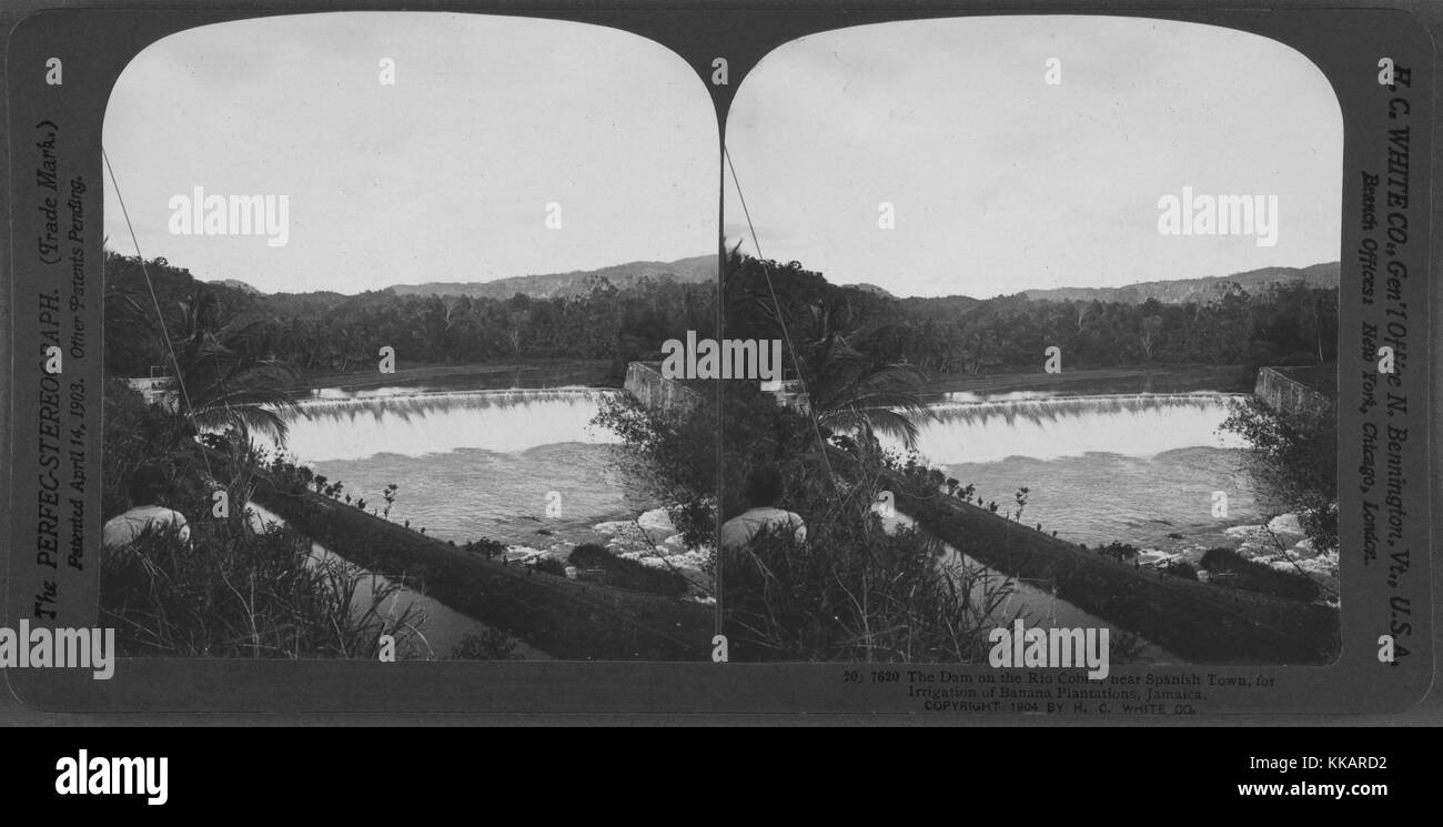 The dam on the Rio Cobre, near Spanish Town, for irrigation of banana plantations, Jamaica, 1904. From the New York - Stock Image