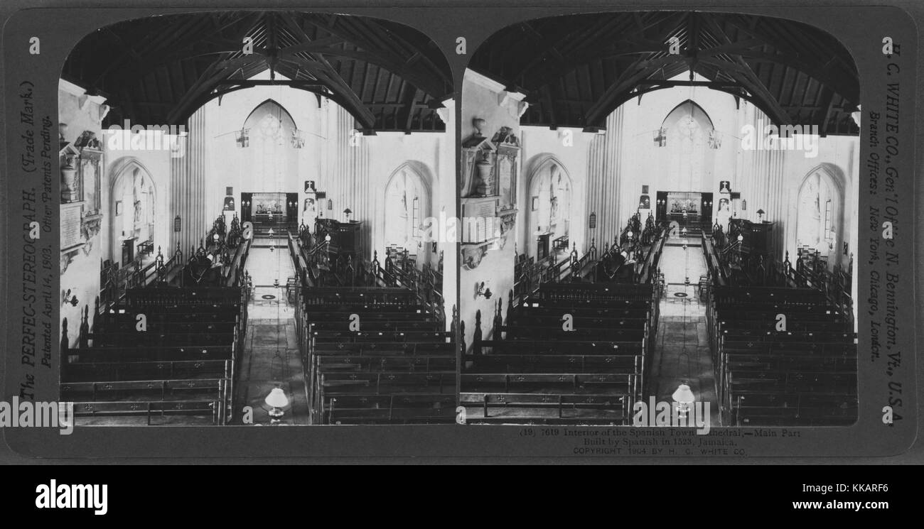 Interior of the Spanish Town Cathedral, Jamaica, 1904. From the New York Public Library. - Stock Image