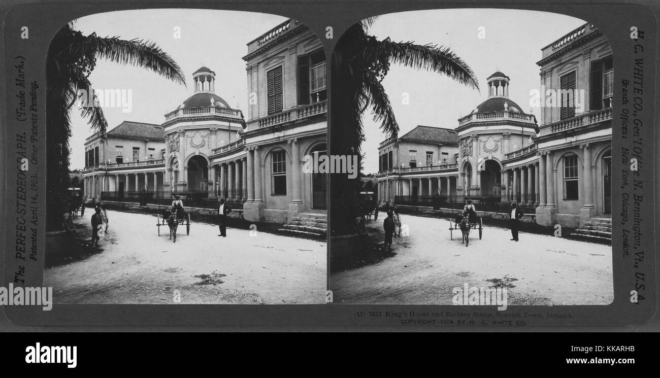 King's House and Rodney statue, Spanish Town, Jamaica, 1904. From the New York Public Library. - Stock Image