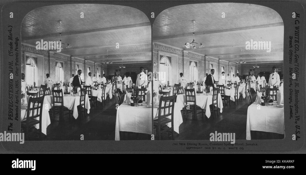 Dining room, Constant Spring Hotel, Jamaica, 1904. From the New York Public Library. - Stock Image