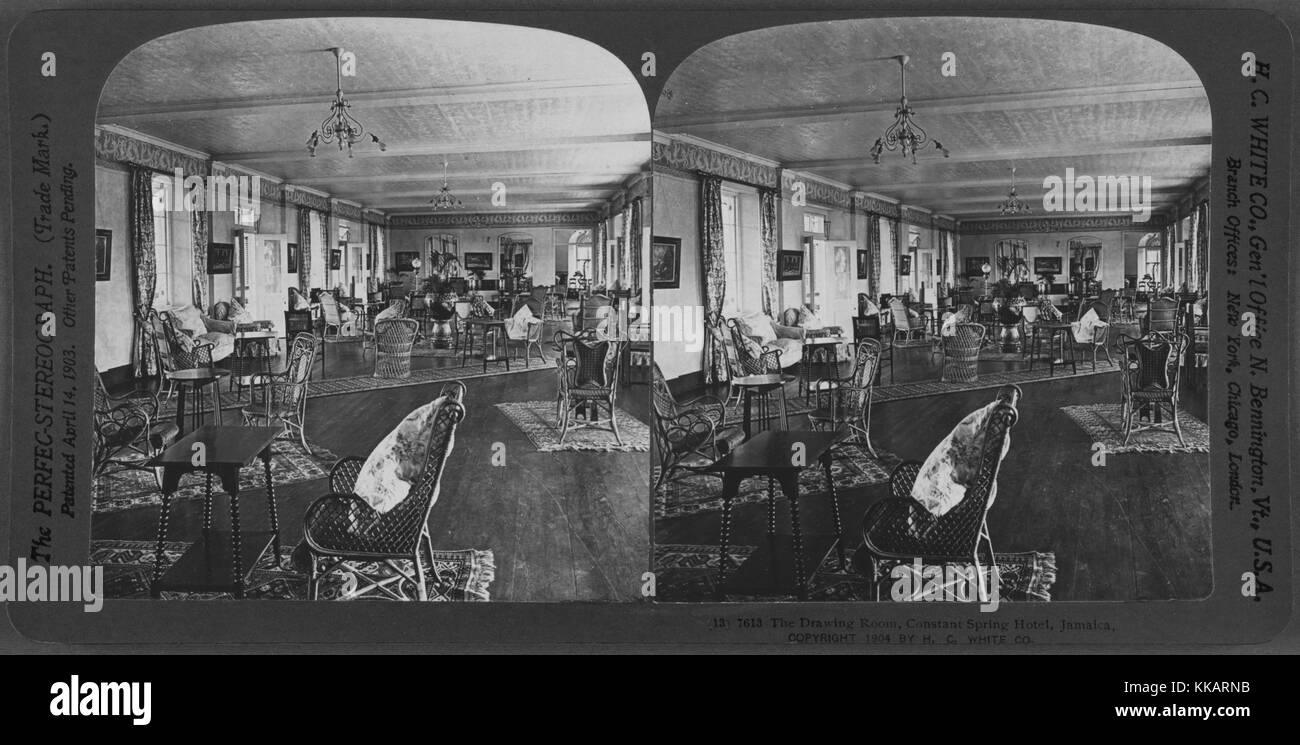 The Drawing Room, Constant Spring Hotel, Jamaica, 1904. From the New York Public Library. - Stock Image
