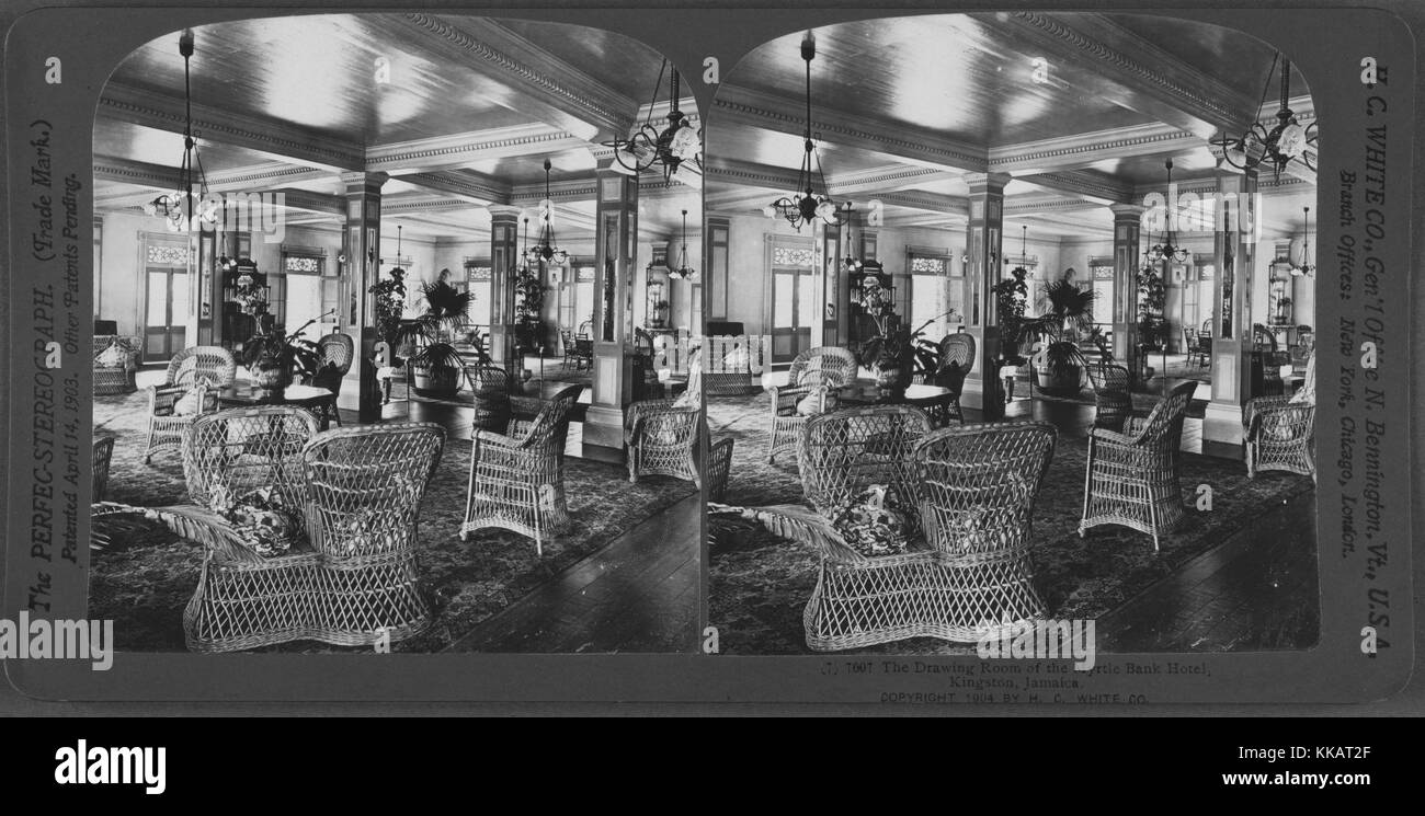 The Drawing Room of the Myrtle Bank Hotel, Kingston, Jamaica, 1904. From the New York Public Library. - Stock Image