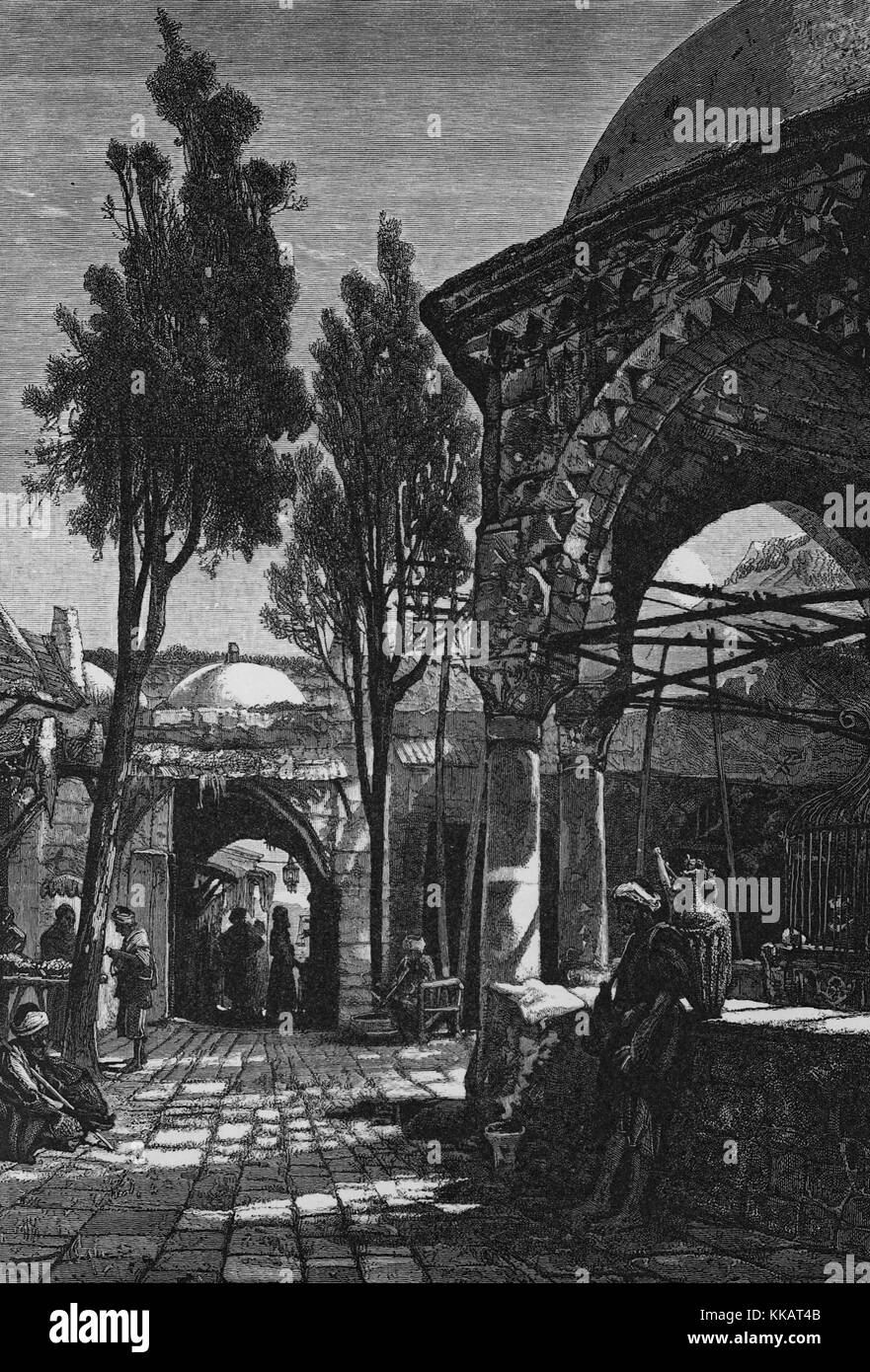 Wood engraving depicting a town square, with a fountain, stone roads, and people at markets, captioned 'Public - Stock Image