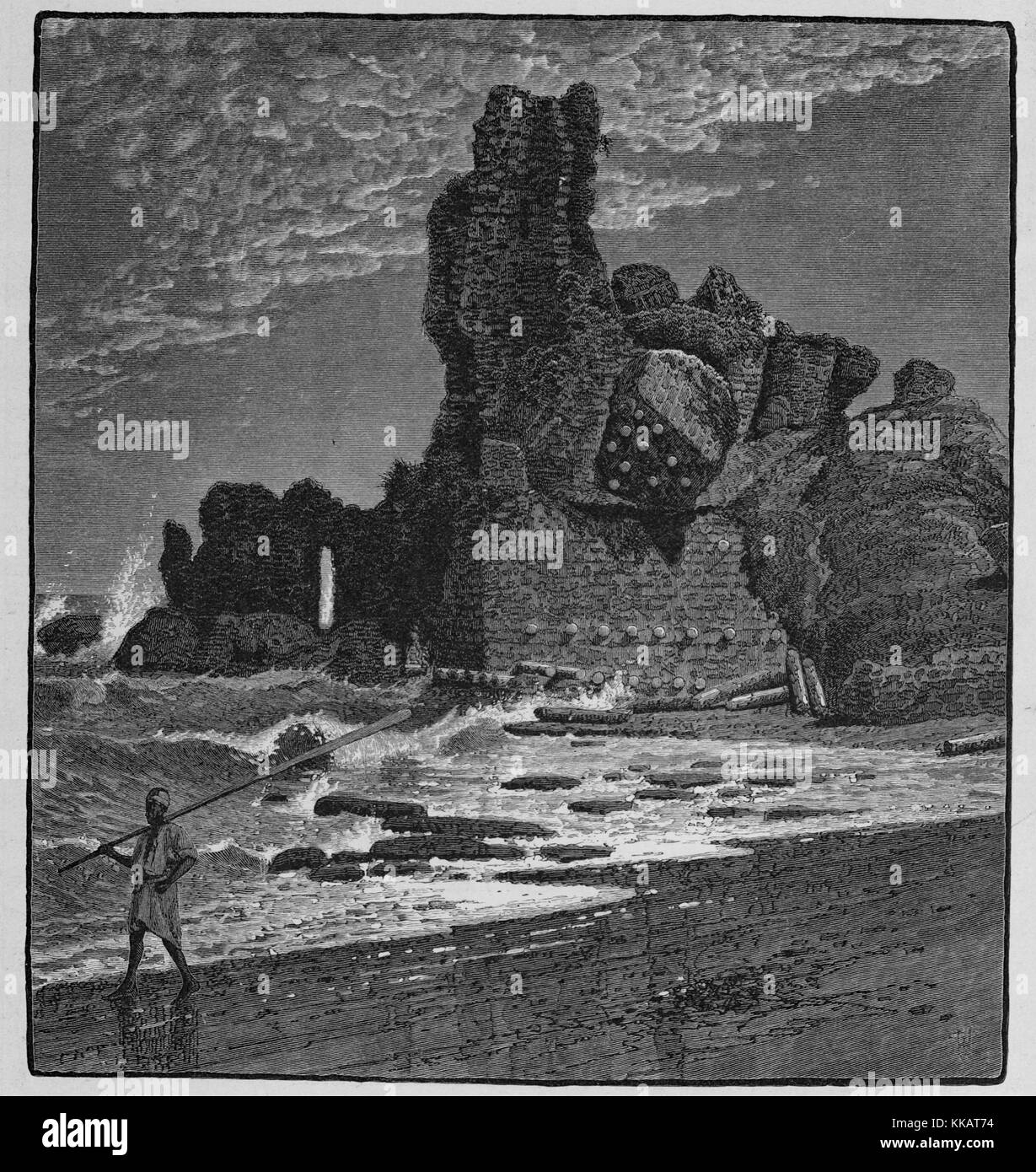 An engraving depicting the ruins of the castle of Caesarea, the medieval structure had marble columns built into - Stock Image