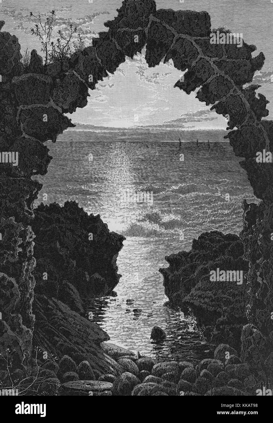 An engraving depicting a view of the Mediterranean Sea as seen from the town of Atlit, the arch in the print is - Stock Image