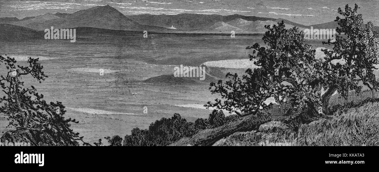An etching depicting the landscape of the plains of Esdraelon as seen from the heights above El Mahrakah, the village - Stock Image