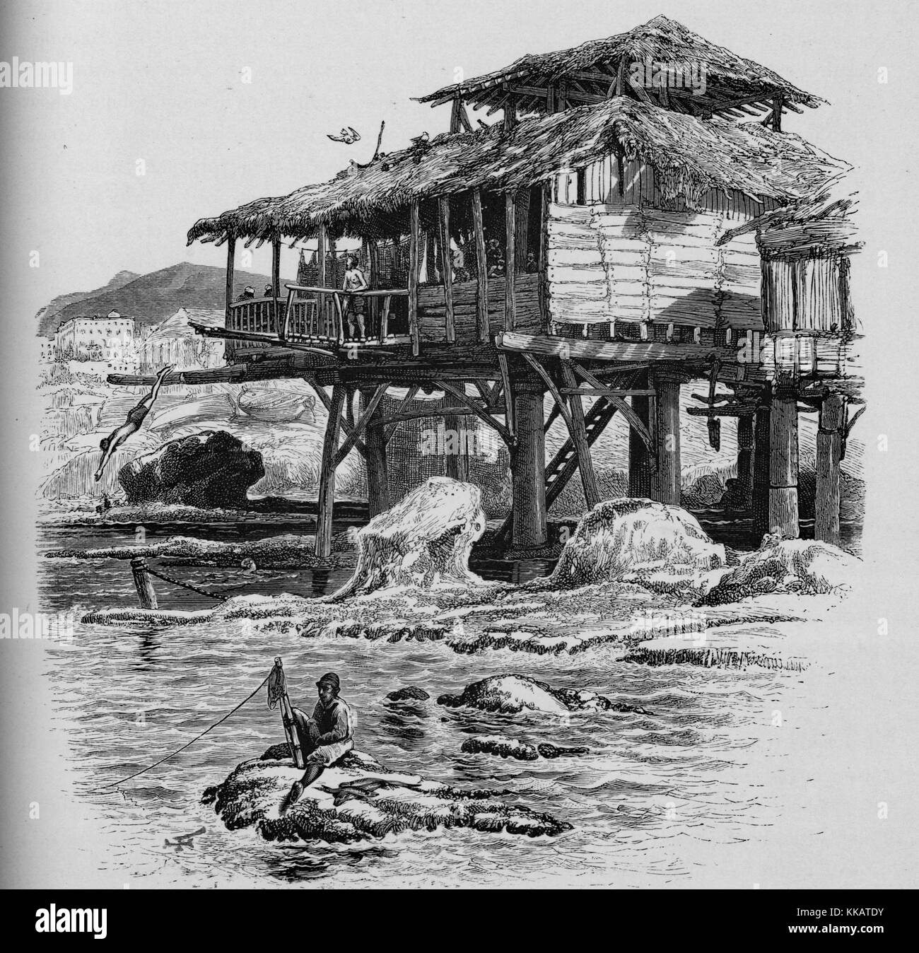 An etching depicting life in Beirut, a man can be seen diving from a wood and thatch structure that has been built - Stock Image