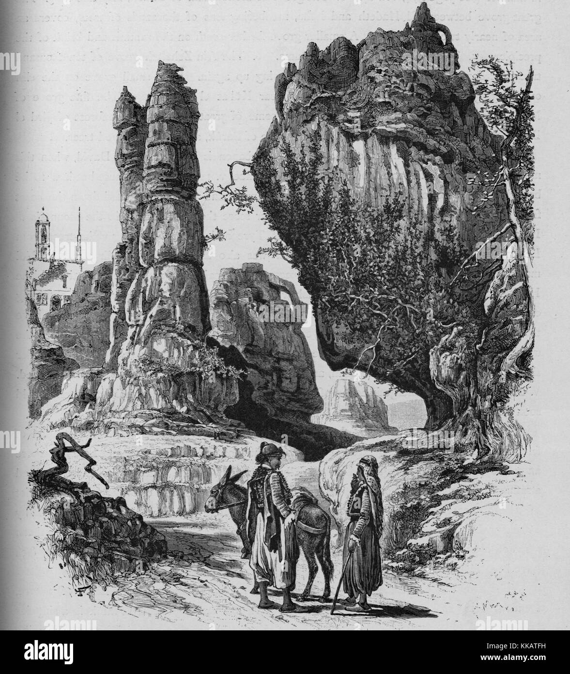 An engraving depicting the limestone formations in Ajaltoun, the belfry of the Convent of Ajaltoun is seen in the - Stock Image