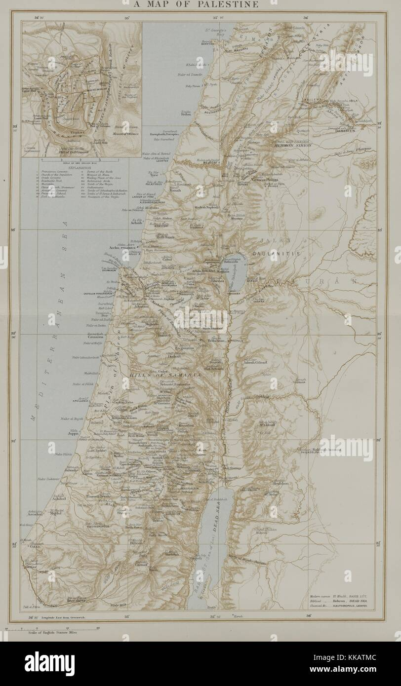 A map of Palestine and the surrounding region as it appeared in the late nineteenth century, 1882. From the New - Stock Image