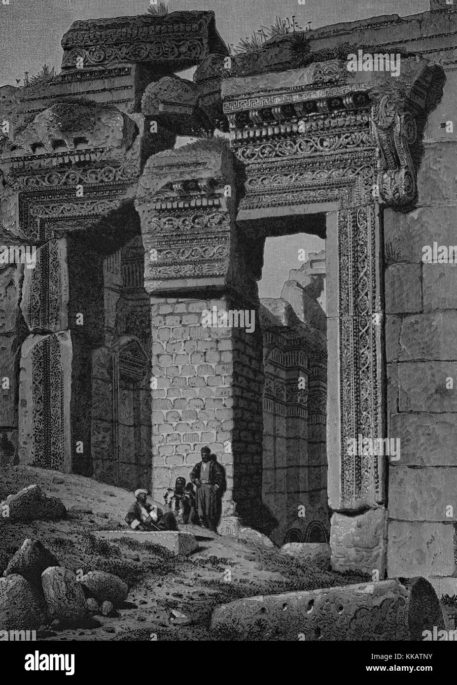 Wood engraving depicting a large stone entry, three men in front of it, captioned 'Gateway to the Temple of - Stock Image