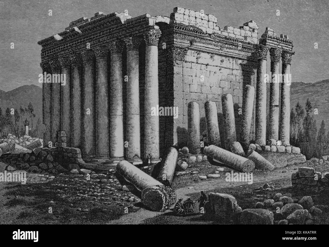 Wood engraving depicting a temple in ruins, broken columns on the ground, captioned 'The Temple of the Sun, - Stock Image