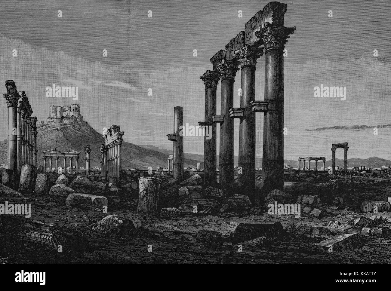 Wood engraving depicting columns and stone ruins, a castle at the top of a hill in the background, captioned 'View - Stock Image