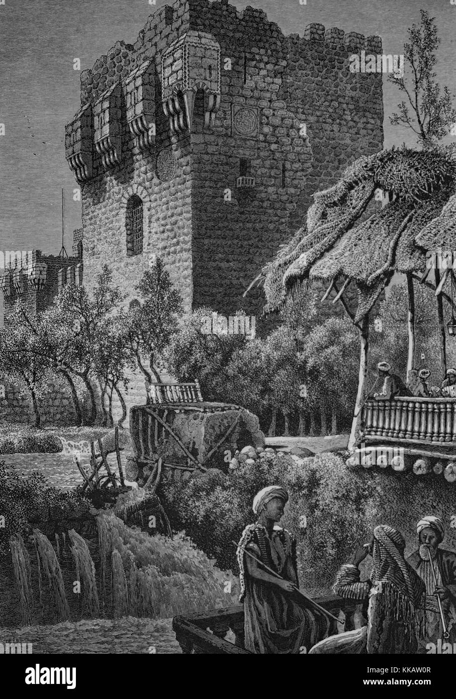 An engraving depicting the exterior of the Citadel of Damascus, fortifications began in that location in 1076 and - Stock Image