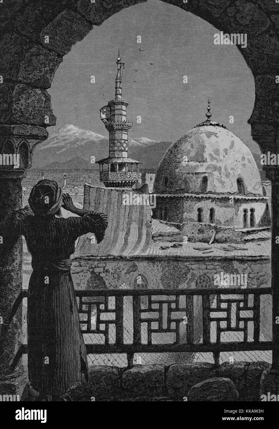 An engraving depicting a Mueddin chanting the call to prayer from the Minaret of 'Isa, which is part of the - Stock Image