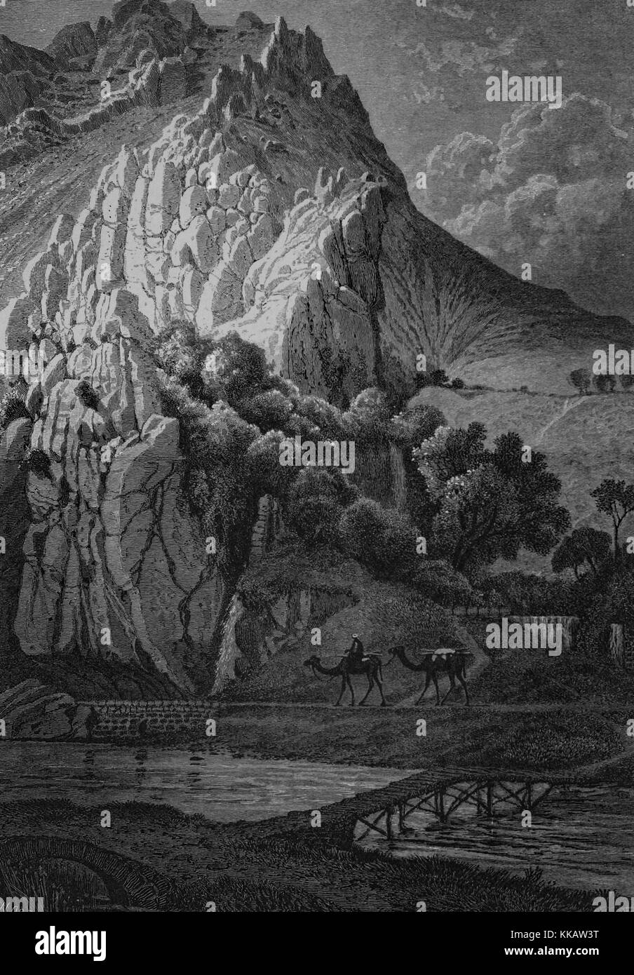 An etching depicting a man guiding camels through the gorge of The Barada, which is the main river of Damascus, - Stock Image
