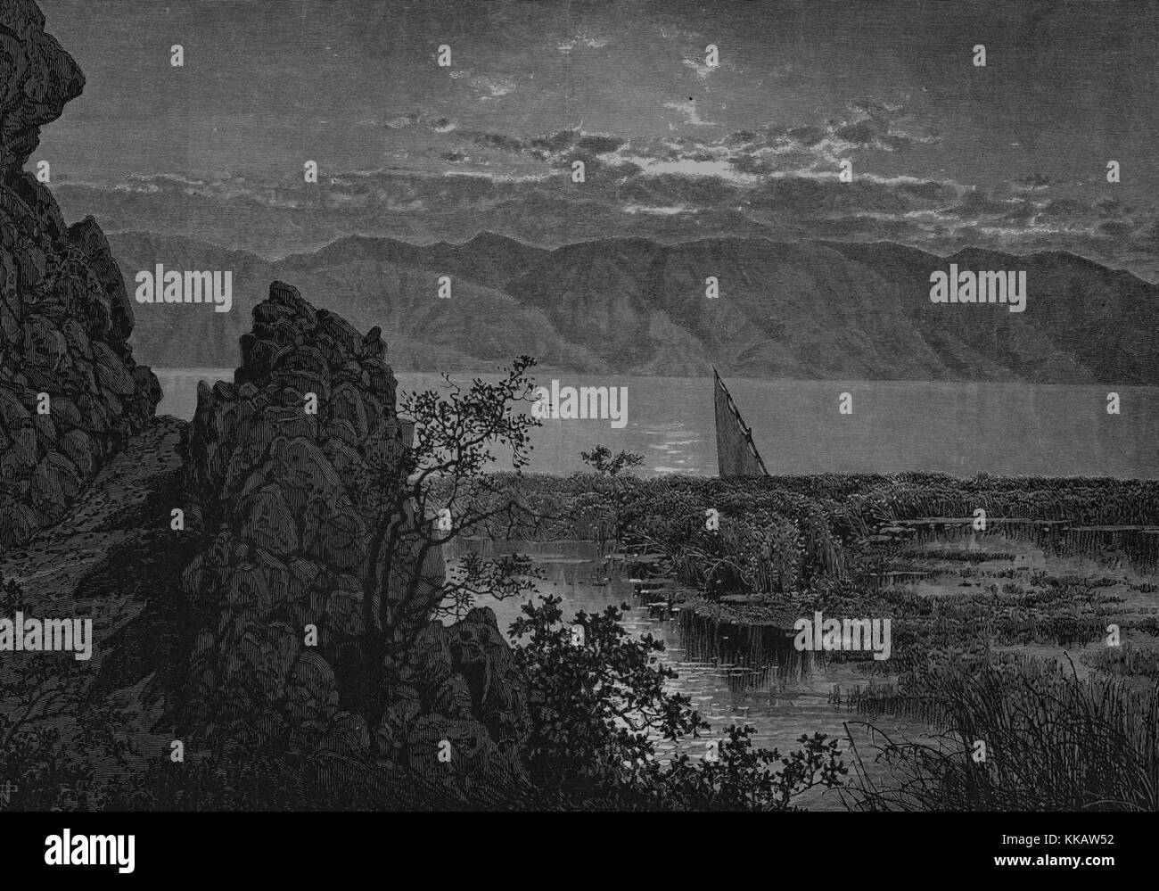 An engraving that shows a view of The Sea of Galilee as seen from the fountain of the fig-tree near the site of - Stock Image