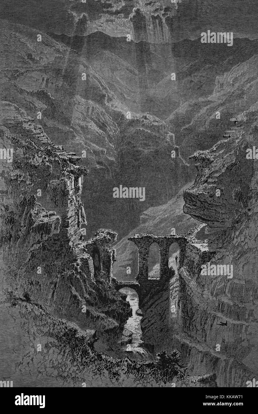 Wood engraving depicting a canyon with stone ruins, river flowing at the bottom, captioned 'Ruins in the gorge - Stock Image
