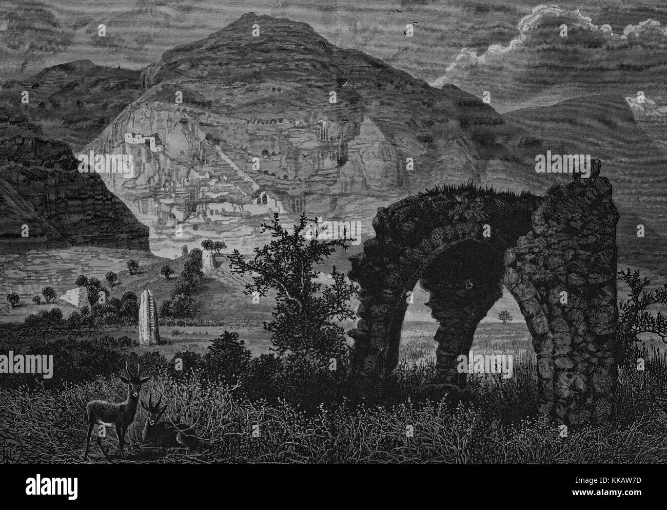 An etching that shows the landscape surrounding Mount Quarantania as seen from the ruins of the old city, Jericho, - Stock Image