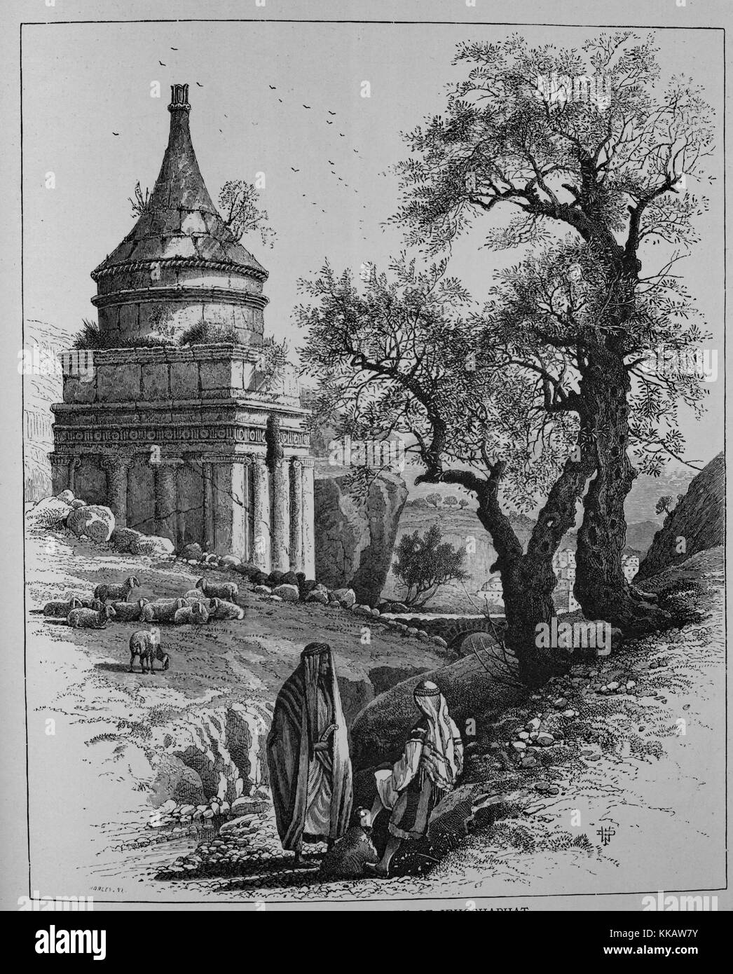 An etching depicting the Tomb of Absalom, also called Absalom's Pillar, the rock-cut tomb is located in the - Stock Image