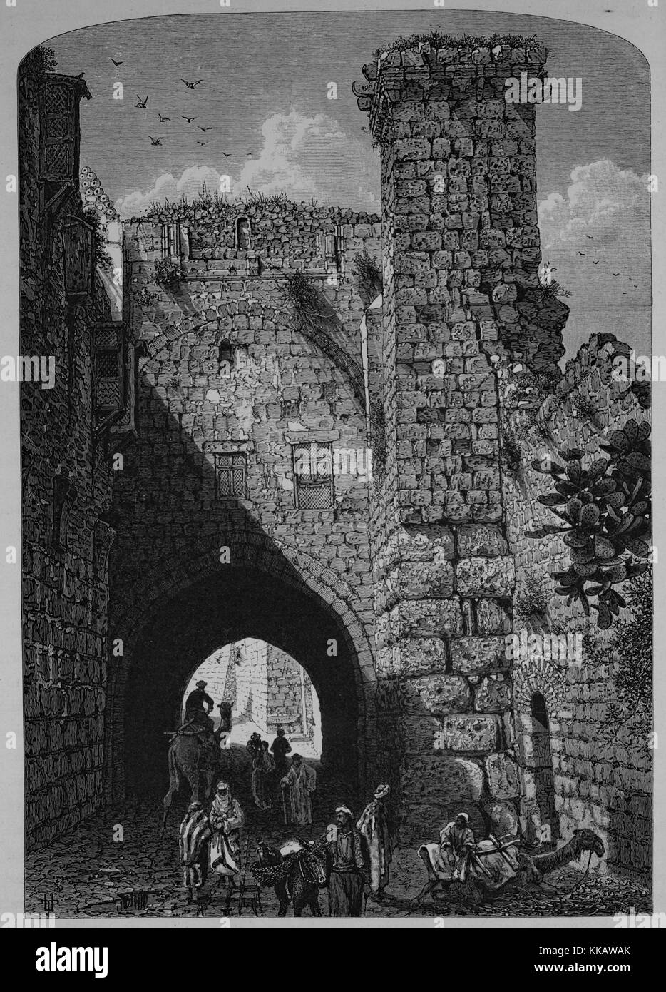 An engraving depicting people congregating and traveling through a stone archway at the Antonia Fortress, it was - Stock Image