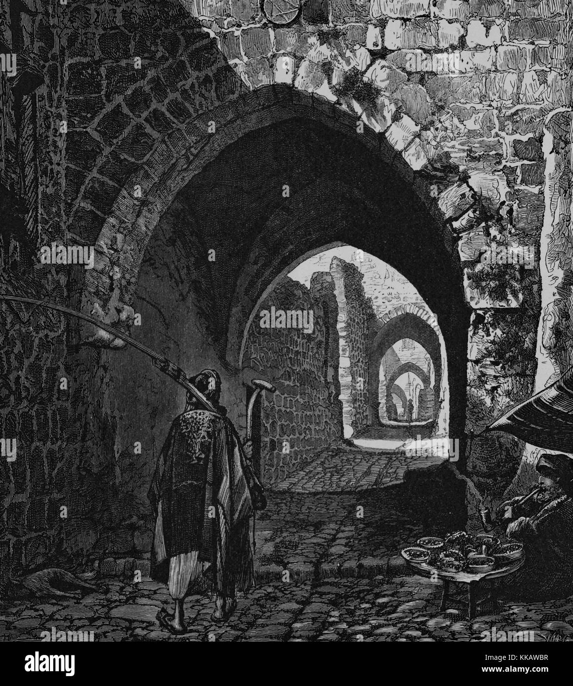 An engraving depicting a peasant walking up the street near the House of Saint Veronica in the Via Dolorosa, according - Stock Image
