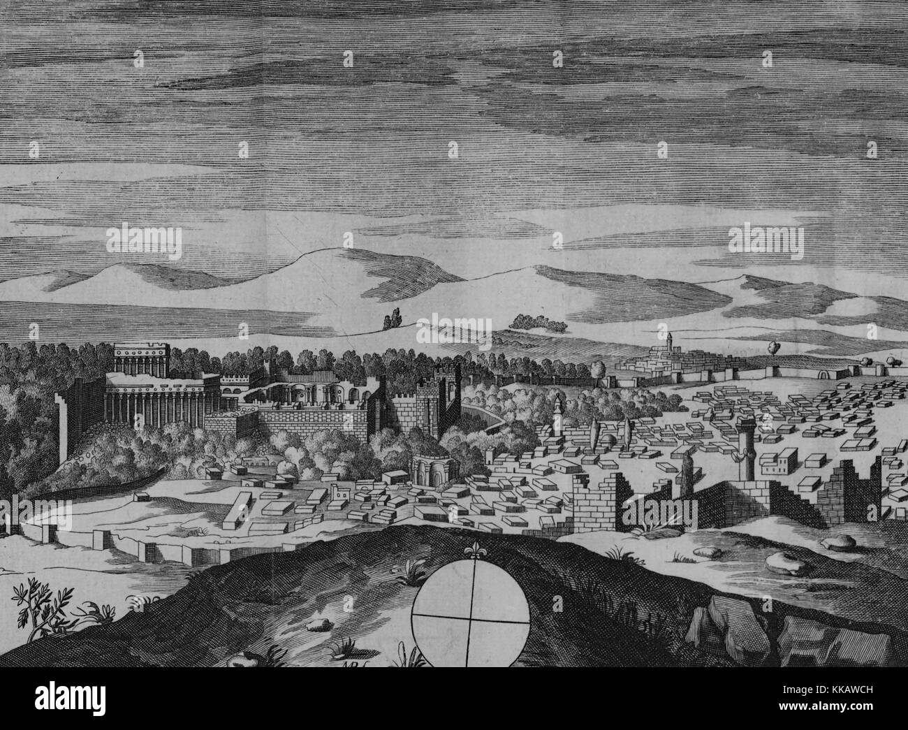 An engraving depicting a landscape view of the city of Baalbek and the surrounding landscape, the Roman ruins are - Stock Image