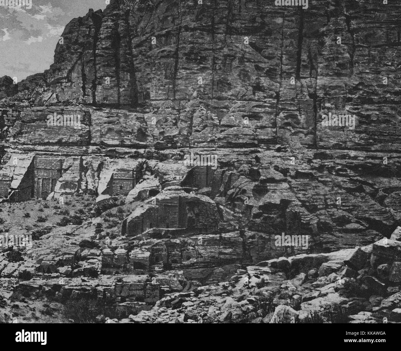 The archaeological city of Petra, the rock-cut architecture is carved in to the slope of Jebel al-Madhbah, Jordan, - Stock Image