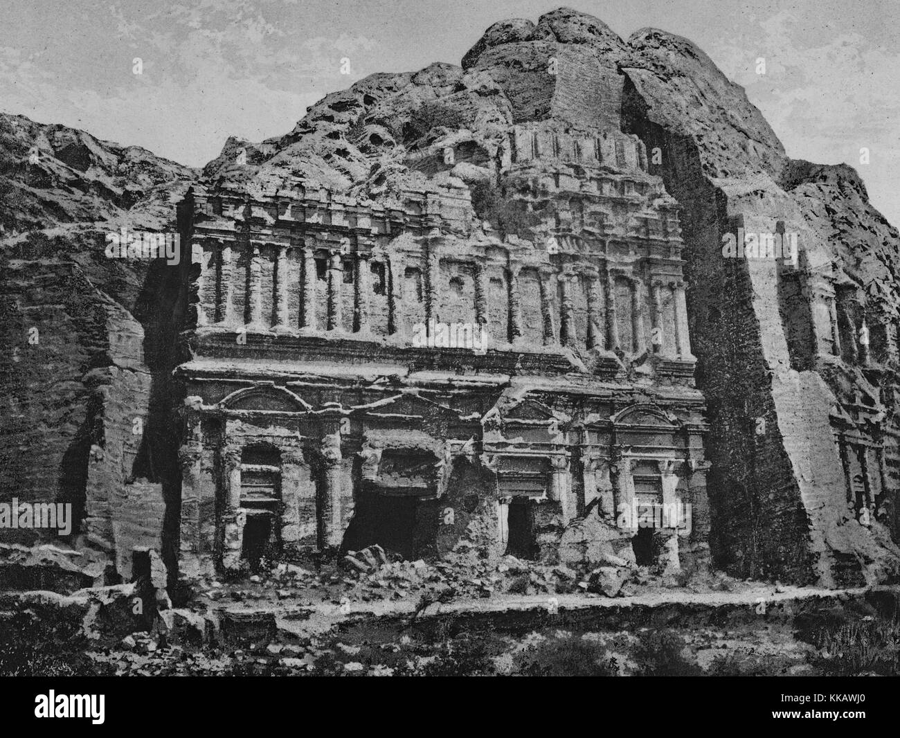 A photograph of the rock-cut architecture of the city of Petra, it was the capital city of the Arab Nabataeans, - Stock Image