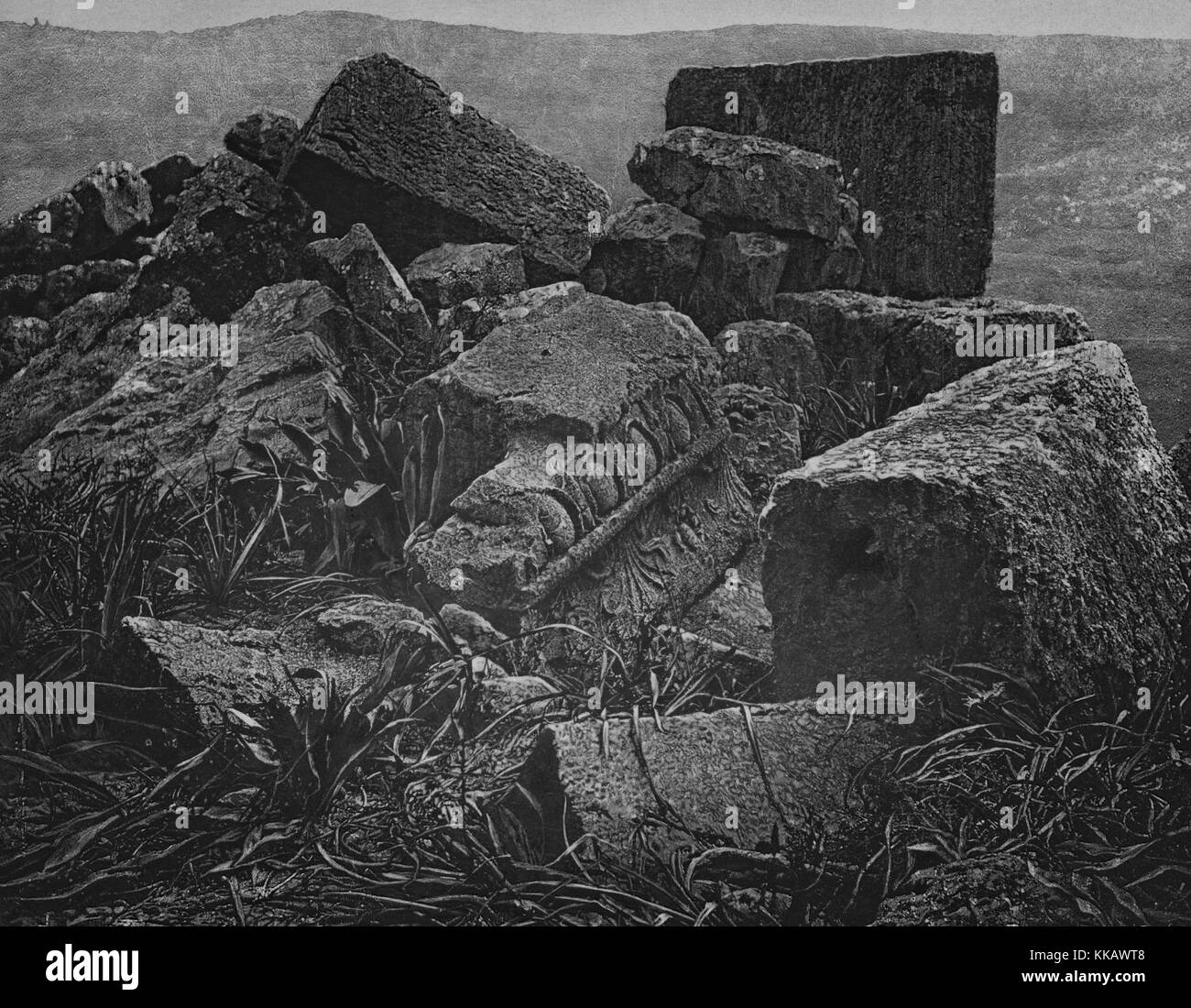 A pile of rubble in the ruins near Araq El-Emir, Qasr al-Abd is a large palace that stands nearby, Jordan, 1874. - Stock Image