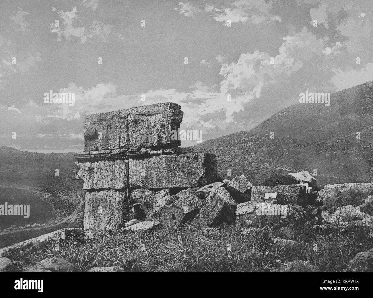 A photograph of ruins standing near the city of Iraq Al-Amir, the ruins are left from structures built during the - Stock Image