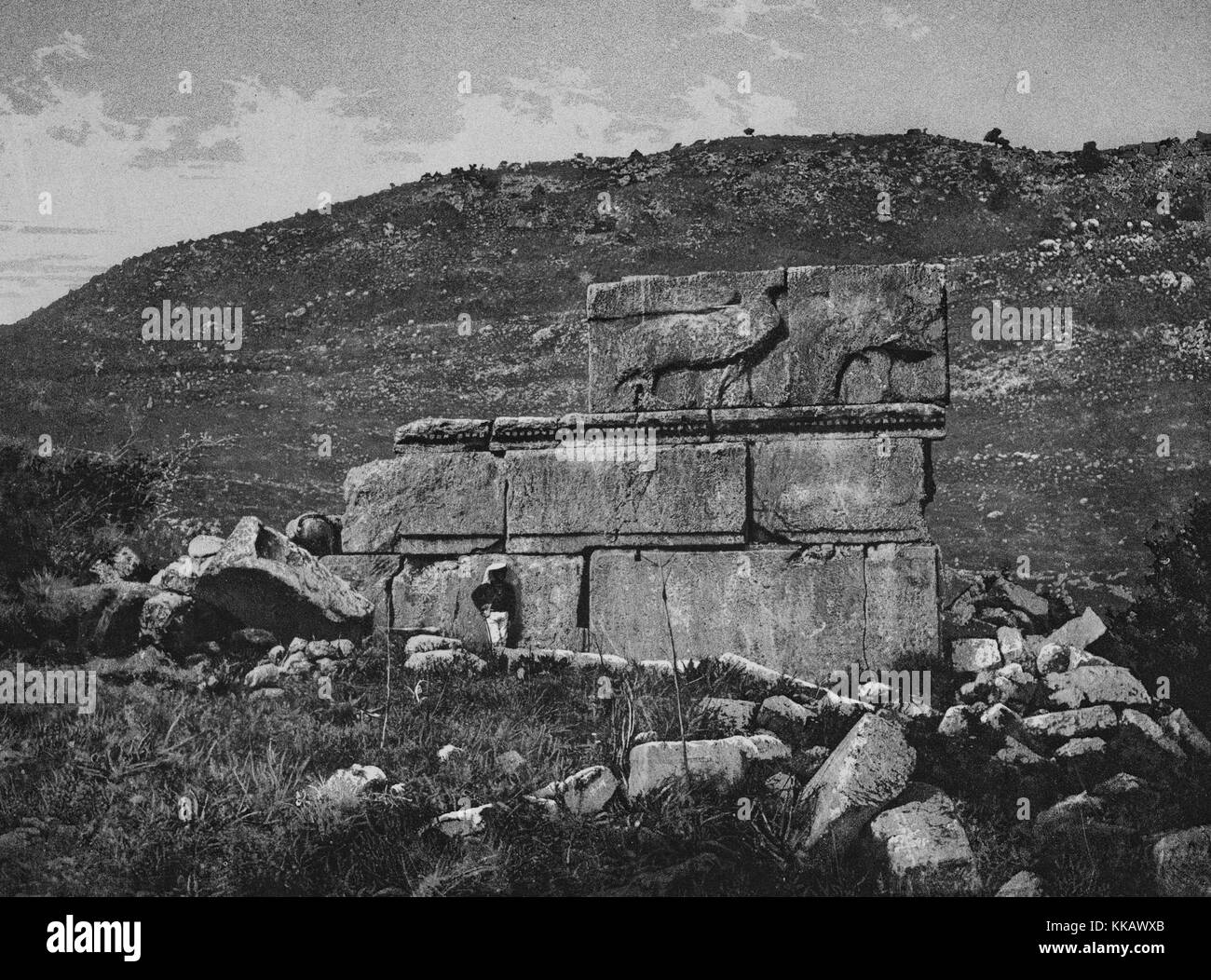 The ruins of Qasr Al-Abd that stand near Araq El-Emir, a stone palace with Hellenistic architecture that has been - Stock Image
