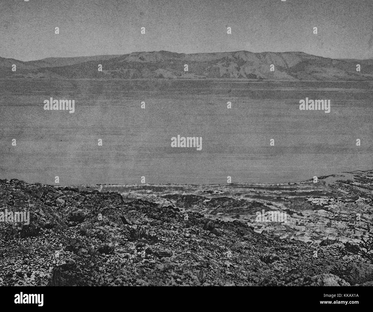 Dead Sea, shooting of Ain-Jidy (Engedi), 1874. From the New York Public Library. - Stock Image